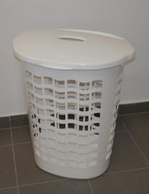 Ovális szennyestartó, műanyag, 60 l, fehér
