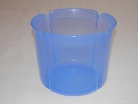 Virágtartó kaspó, szirom formájú, 17 cm, kék műanyag