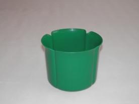 Virágtartó kaspó, szirom formájú, 13 cm, zöld műanyag