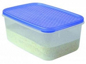 Szögletes mércés, műanyag ételdoboz 18x12x8 cm