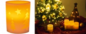 Home LED-es gyertya dekoráció fenyőfa mintával (CDW 11)